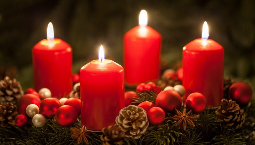 Advent wreath with candles on the fourth Sunday in Advent